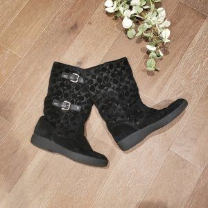 Ladies Coach Tinah Black Mid Calf Boots 8B